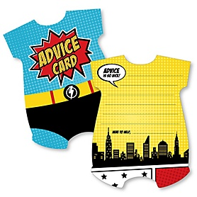 BAM! Superhero - Comic Book Wish Card Baby Shower Activities - Shaped Advice Cards Game - Set of 20