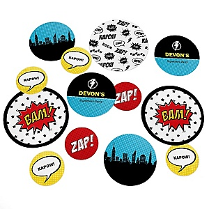 BAM! Superhero - Personalized Baby Shower Table Confetti - 27 ct