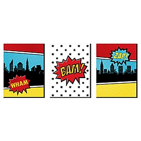 BAM! Superhero - Nursery Wall Art and Comic Kids Room Decor - 7.5 x 10 inches - Set of 3 Prints