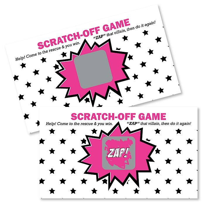 BAM! Girl Superhero - Party Game Scratch Off Cards - 22 ct