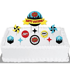 BAM! Superhero - Birthday Party Cake Decorating Kit - Happy Birthday Cake Topper Set - 11 Pieces