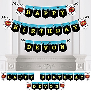 BAM! Superhero - Personalized Birthday Party Bunting Banner & Decorations
