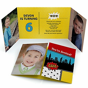 BAM! Superhero - Personalized Birthday Party Photo Invitations - Set of 12