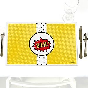BAM! Superhero - Party Table Decorations - Party Placemats - Set of 12