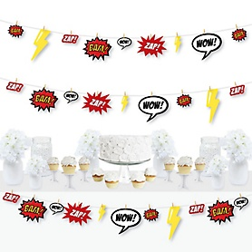 BAM! Superhero - Baby Shower or Birthday Party DIY Decorations - Clothespin Garland Banner - 44 Pieces