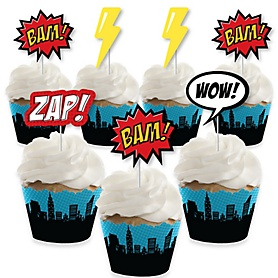 BAM! Superhero - Cupcake Decorations - Baby Shower or Birthday Party Cupcake Wrappers and Treat Picks Kit - Set of 24