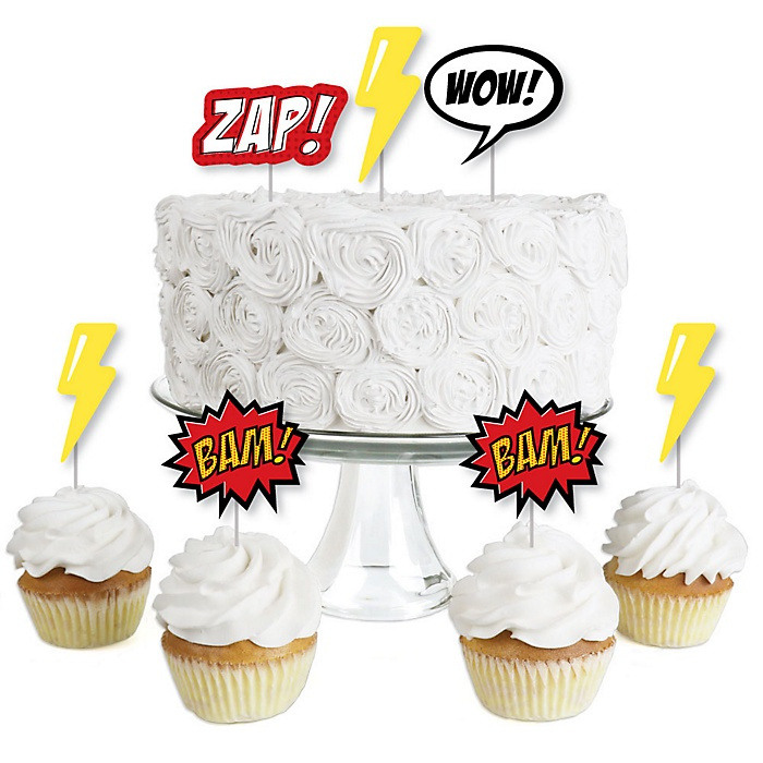 BAM! Superhero - Dessert Cupcake Toppers - Baby Shower or Birthday Party Clear Treat Picks - Set of 24