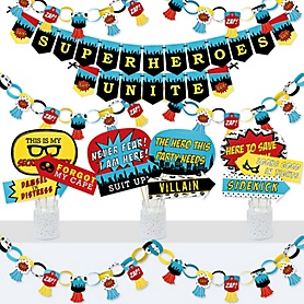 BAM! Superhero - Banner and Photo Booth Decorations - Baby Shower or Birthday Party Supplies Kit - Doterrific Bundle