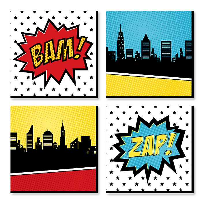 BAM! Superhero - Kids Room, Nursery Decor and Home Decor - 11 x 11 inches Nursery Wall Art - Set of 4 Prints for Baby's Room