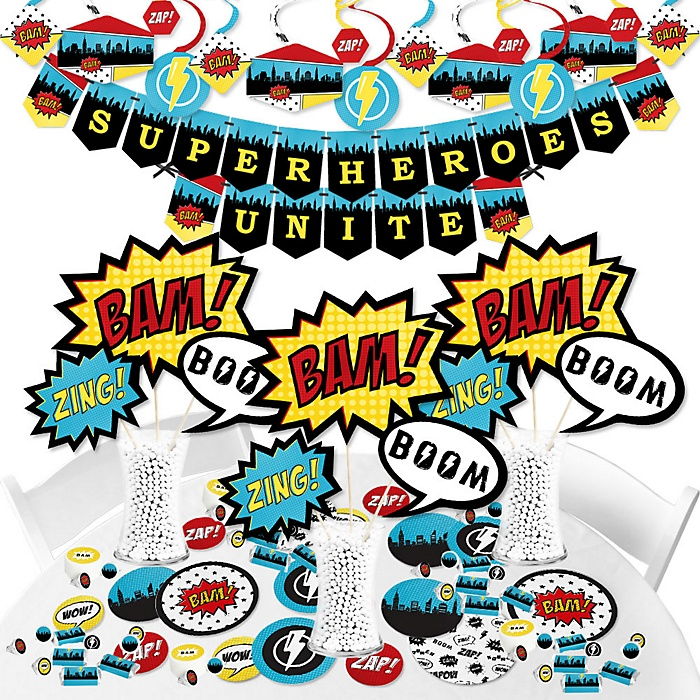BAM! Superhero - Baby Shower or Birthday Party Supplies - Banner Decoration Kit - Fundle Bundle