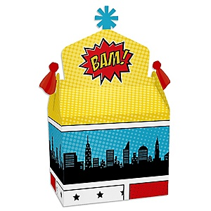 BAM! Superhero - Treat Box Party Favors - Baby Shower or Birthday Party Goodie Gable Boxes - Set of 12