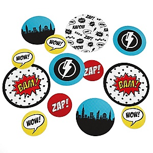 BAM! Superhero - Baby Shower or Birthday Party Table Confetti - 27 ct