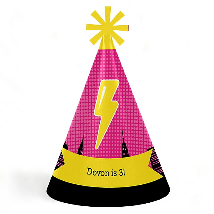 BAM! Girl Superhero - Personalized Cone Happy Birthday Party Hats for Kids and Adults - Set of 8 (Standard Size)