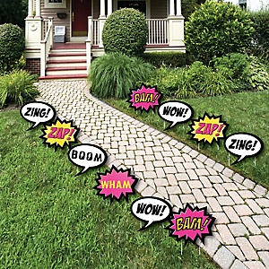 BAM! Girl Superhero - Comic Book Lawn Decorations - Outdoor Baby Shower or Birthday Party Yard Decorations - 10 Piece