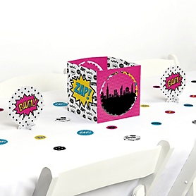 BAM! Girl Superhero - Baby Shower or Birthday Party Centerpiece and Table Decoration Kit