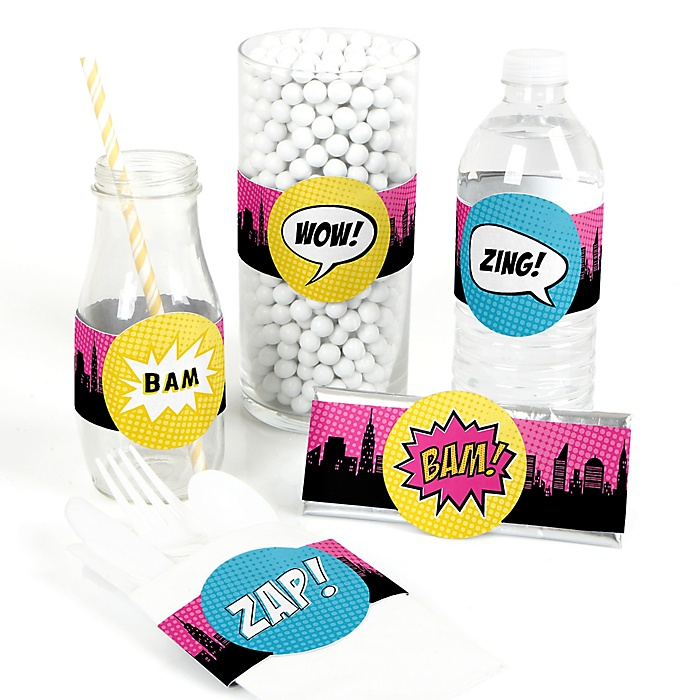 BAM! Girl Superhero - DIY Party Wrappers - 15 ct