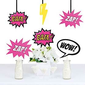 BAM! Girl Superhero Decorations - DIY Baby Shower or Birthday Party Essentials - Set of 20