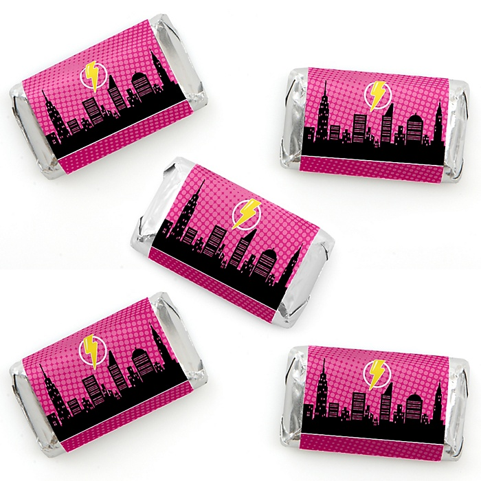 BAM! Girl Superhero - Mini Candy Bar Wrapper Stickers - Baby Shower or Birthday Party Small Favors - 40 Count