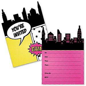 BAM! Girl Superhero - Shaped Fill-In Invitations - Baby Shower or Birthday Party Invitation Cards with Envelopes - Set of 12