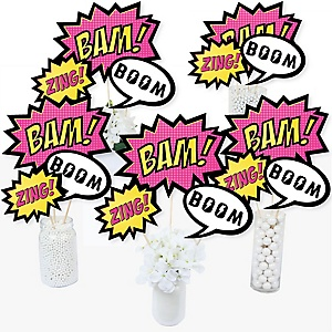 BAM! Girl Superhero - Baby Shower or Birthday Party Centerpiece Sticks - Table Toppers - Set of 15
