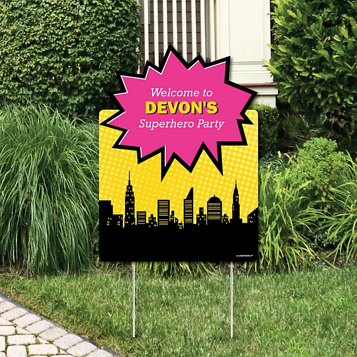 BAM! Girl Superhero - Party Decorations - Birthday Party or Baby Shower Personalized Welcome Yard Sign