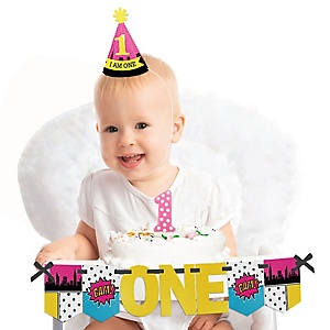 BAM! Girl Superhero 1st Birthday - First Birthday Girl Smash Cake Decorating Kit - High Chair Decorations