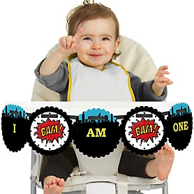 BAM! Superhero 1st Birthday - I am One - First Birthday High Chair Banner