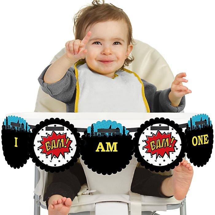 BAM! Superhero 1st Birthday - I am One - First Birthday High Chair Banner