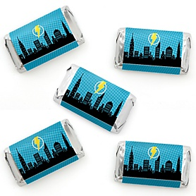 BAM! Superhero - Mini Candy Bar Wrapper Stickers - Baby Shower or Birthday Party Small Favors - 40 Count