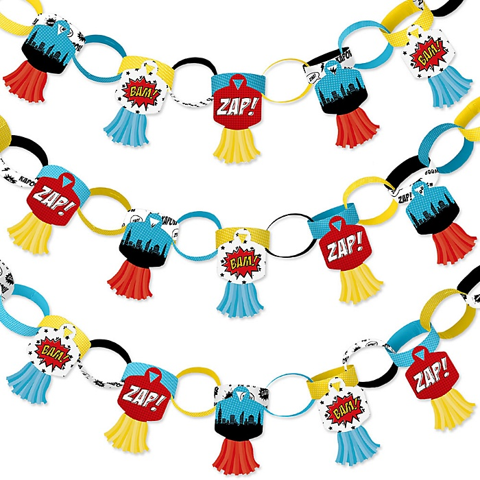 BAM! Superhero - 90 Chain Links and 30 Paper Tassels Decoration Kit - Baby Shower or Birthday Party Paper Chains Garland - 21 feet