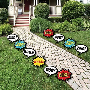 BAM! Superhero - Comic Book Lawn Decorations - Outdoor Baby Shower or Birthday Party Yard Decorations - 10 Piece