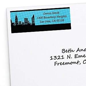 BAM! Superhero - Personalized Baby Shower Return Address Labels - 30 Count