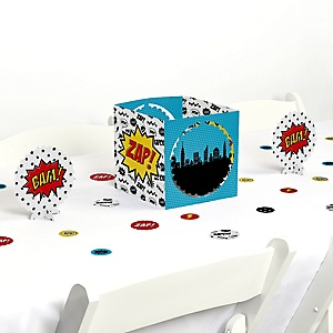 BAM! Superhero - Baby Shower or Birthday Party Centerpiece and Table Decoration Kit