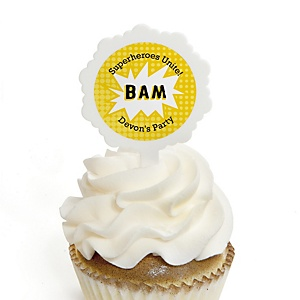 BAM! Superhero - Personalized Party Cupcake Picks and Sticker Kit - 12 ct