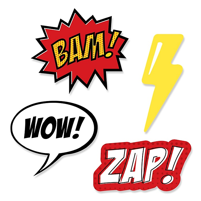 BAM! Superhero - DIY Shaped Party Paper Cut-Outs - 24 ct