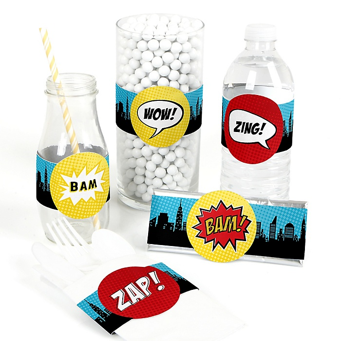 BAM! Superhero - DIY Party Wrappers - 15 ct