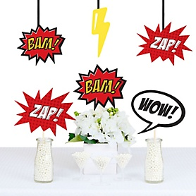 BAM! Superhero Decorations - DIY Baby Shower or Birthday Party Essentials - Set of 20
