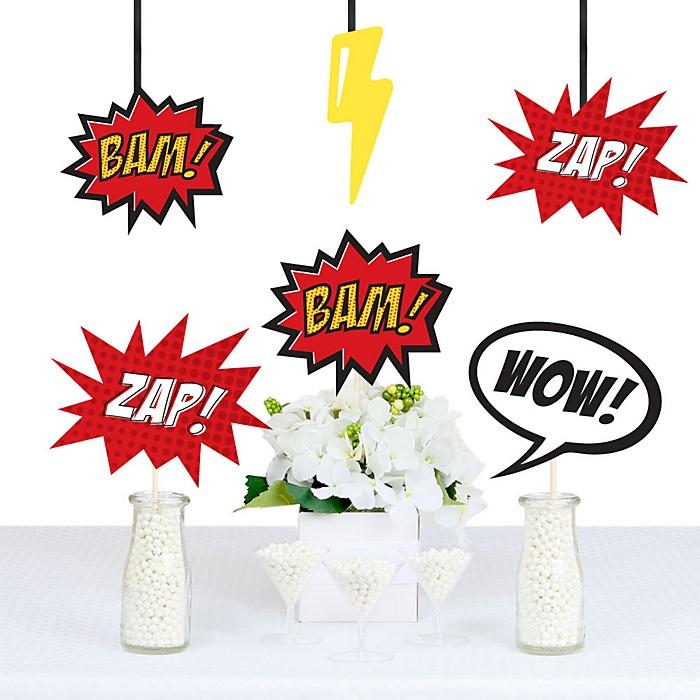 BAM! Superhero Decorations - DIY Baby Shower or Birthday Party Essentials - Set of 20