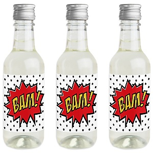 BAM! Superhero - Mini Wine and Champagne Bottle Label Stickers - Baby Shower or Birthday Party Favor Gift for Women and Men - Set of 16