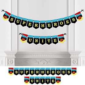 BAM! Superhero - Baby Shower or Birthday Party Bunting Banner - Party Decorations - Superheroes Unite