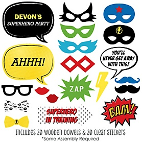 BAM! Superhero - 20 Piece Photo Booth Props Kit