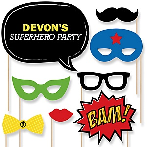 BAM! Superhero - Baby Shower Photo Booth Props Kit - 20 Props