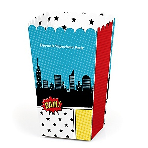 BAM! Superhero - Personalized Party Popcorn Favor Treat Boxes - Set of 12