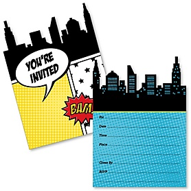 BAM! Superhero - Shaped Fill-In Invitations - Baby Shower or Birthday Party Invitation Cards with Envelopes - Set of 12
