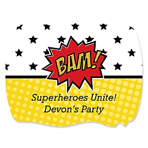 BAM! Superhero - Personalized Party Squiggle Stickers - 16 ct