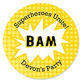BAM! Superhero - Personalized Party Sticker Labels - 24 ct