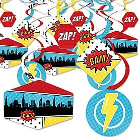BAM! Superhero - Baby Shower or Birthday Party Hanging Decor - Party Decoration Swirls - Set of 40