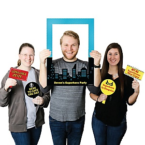 BAM! Superhero - Personalized Birthday Party or Baby Shower Selfie Photo Booth Picture Frame & Props - Printed on Sturdy Material