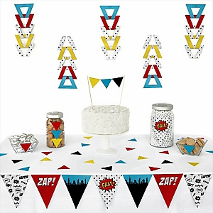 BAM! Superhero -  Triangle Party Decoration Kit - 72 Piece