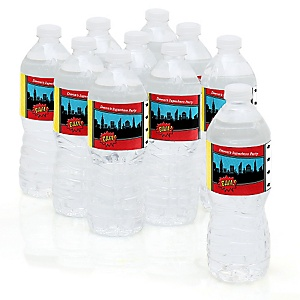 BAM! Superhero - Personalized Party Water Bottle Sticker Labels - Set of 10